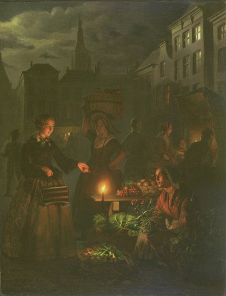 Detail of The Vegetable Stall by Petrus van Schendel