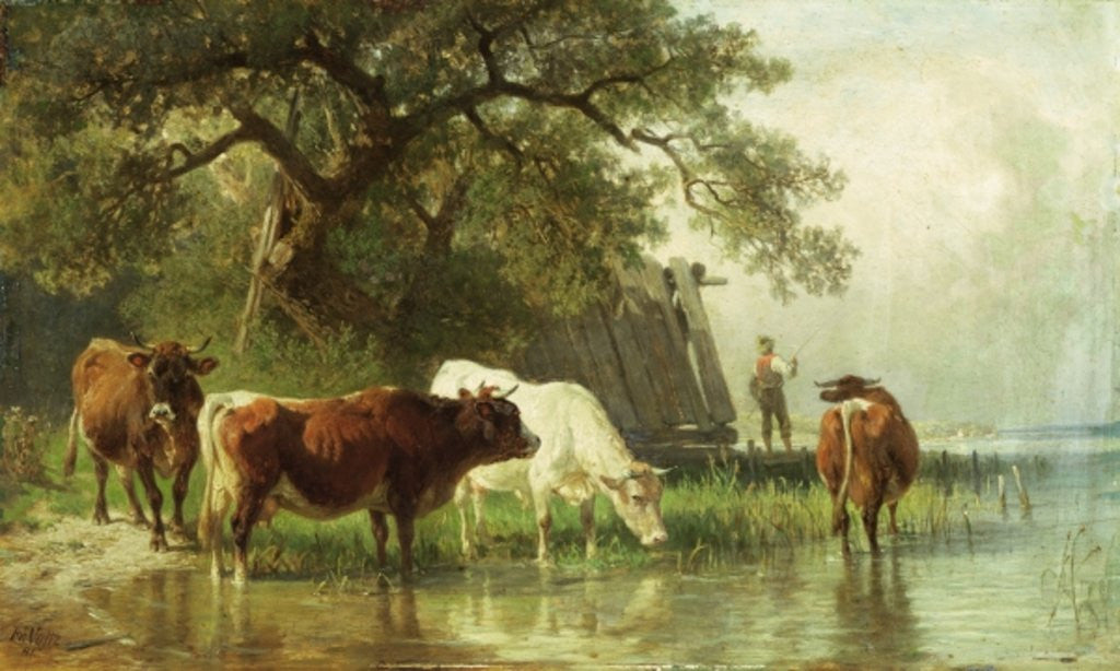 Detail of Cattle Watering in a River Landscape by Friedrich Johann Voltz