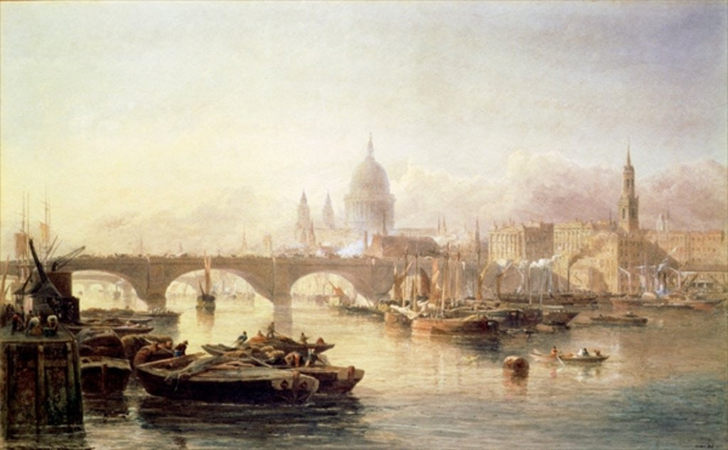 Detail of St. Paul's Cathedral and London Bridge by Edward Angelo Goodall