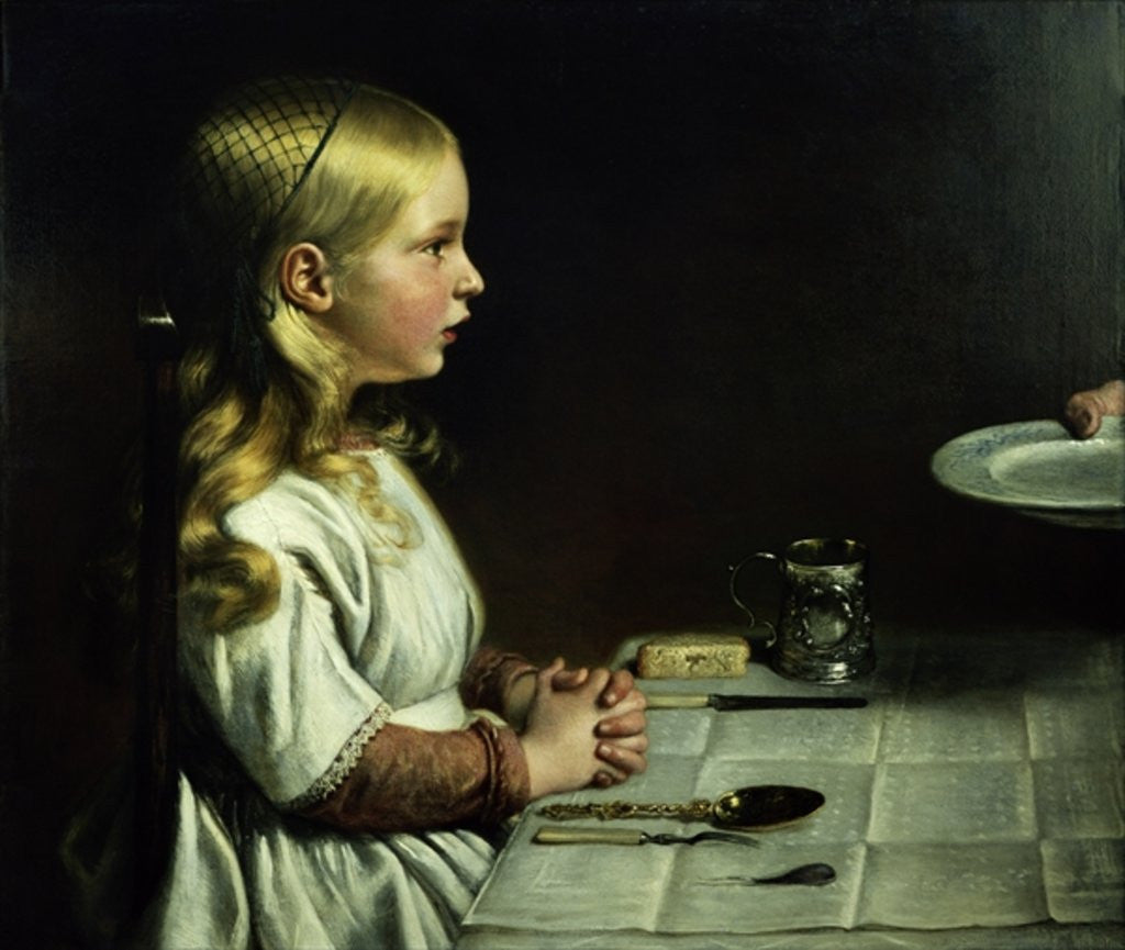 Detail of Florence Cope Saying Grace at Dinnertime by Charles West Cope