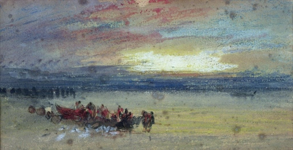 Detail of Shore Scene, Sunset by Joseph Mallord William Turner