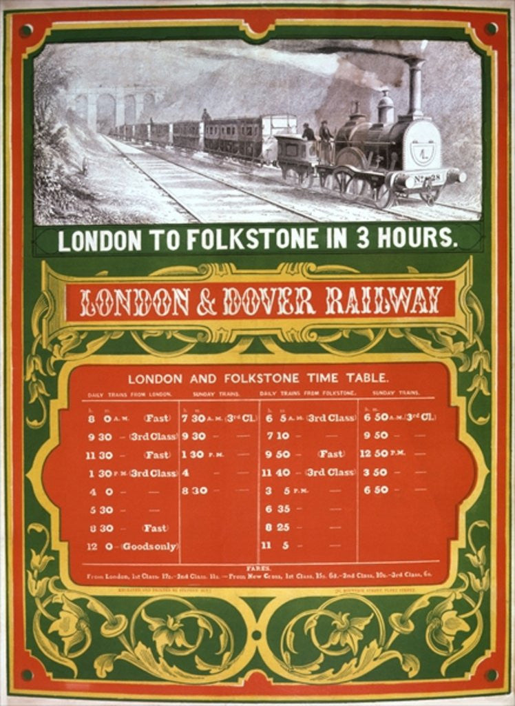 Detail of Early timetable for the London to Dover Railway by English School