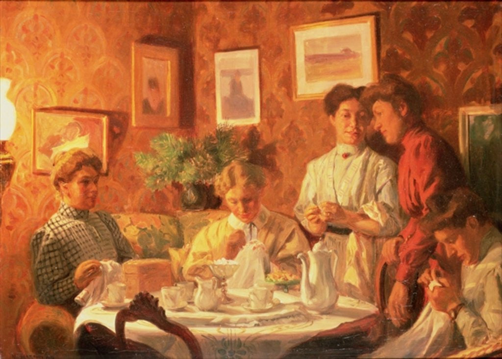 Detail of The Sewing Group by Nils Larson