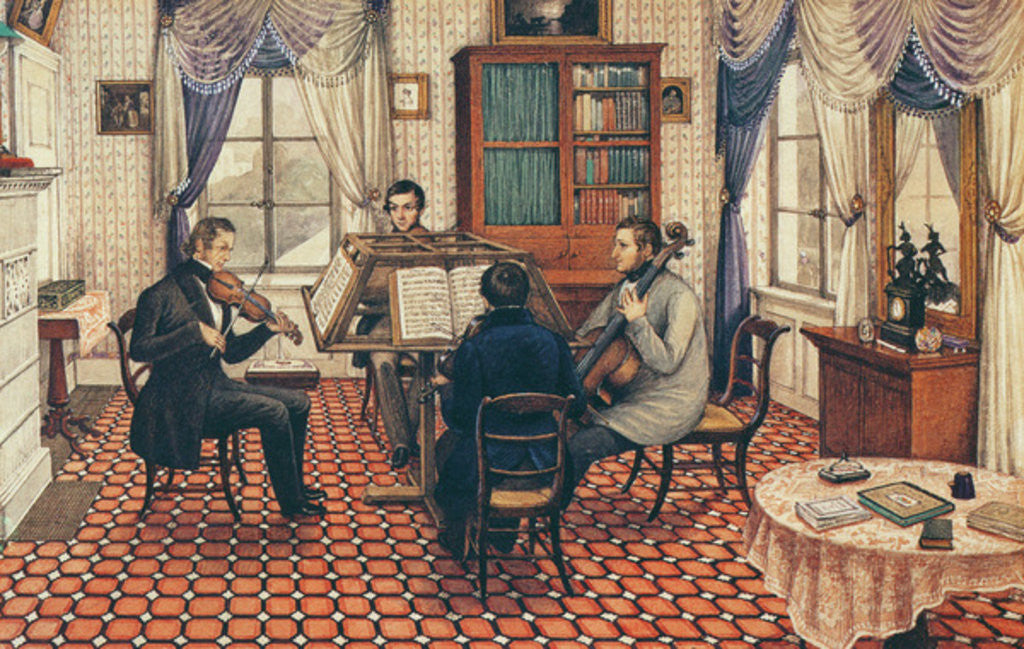 Detail of Anthony and Three Friends Playing a String Quartet by Mary Ellen Best