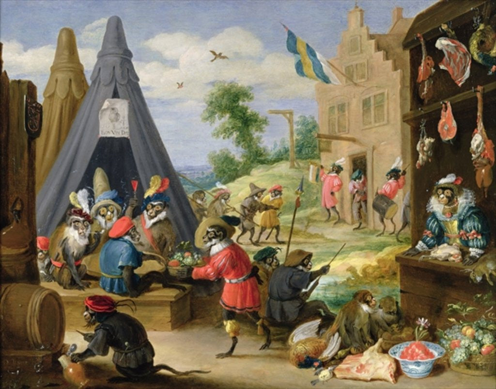 Detail of A Monkey Encampment by David the Younger Teniers