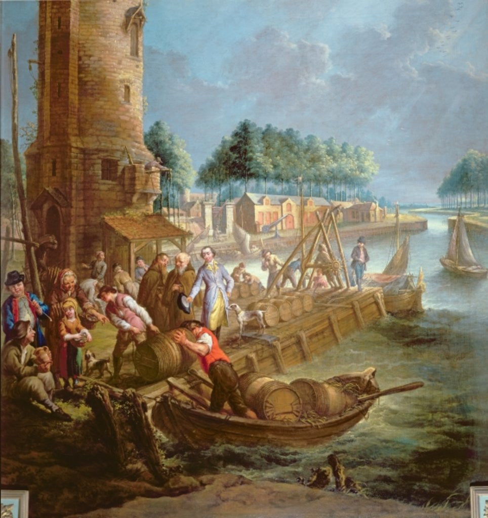 Detail of Canal scene with wine merchant unloading barrels by Jan-Anton Garemyn