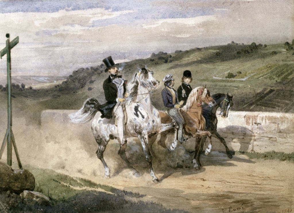Detail of Horace Vernet and his Children Riding in the Country by Eugene-Louis Lami