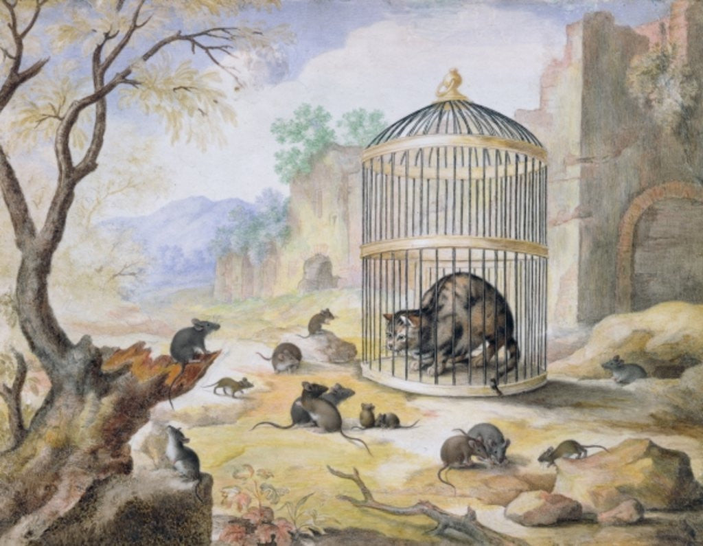 Detail of A Cat in a Cage by Gottfried Mind or Mindt