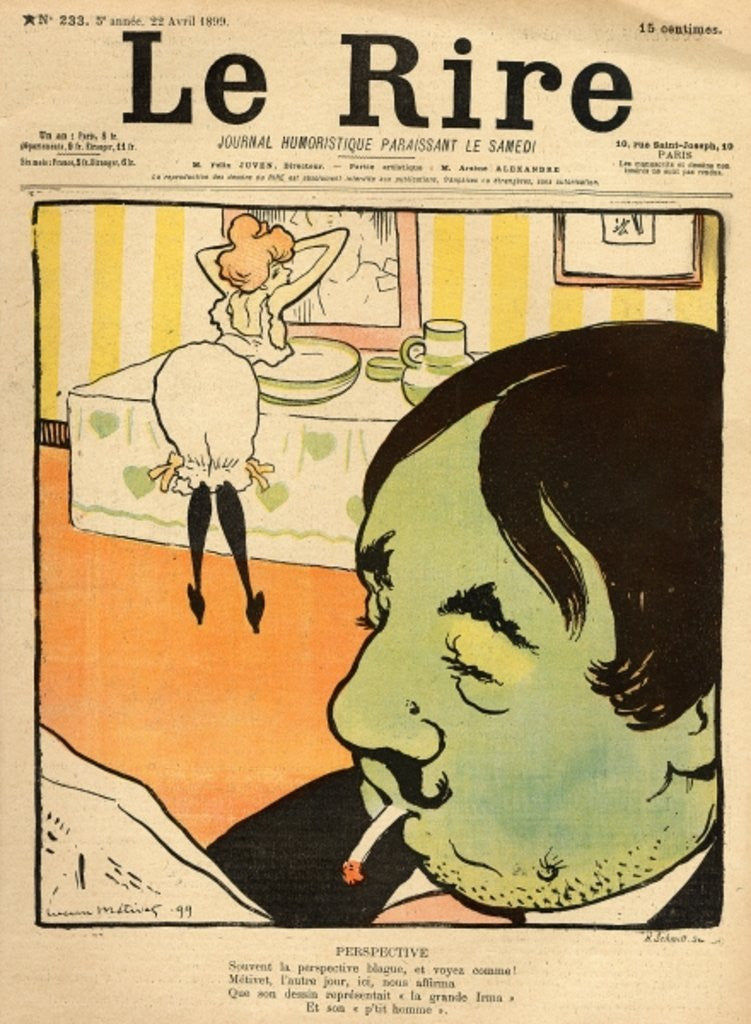 Detail of Humorous cartoon from the front cover of 'Le Rire', 22nd April 1899 by Lucien Metivet