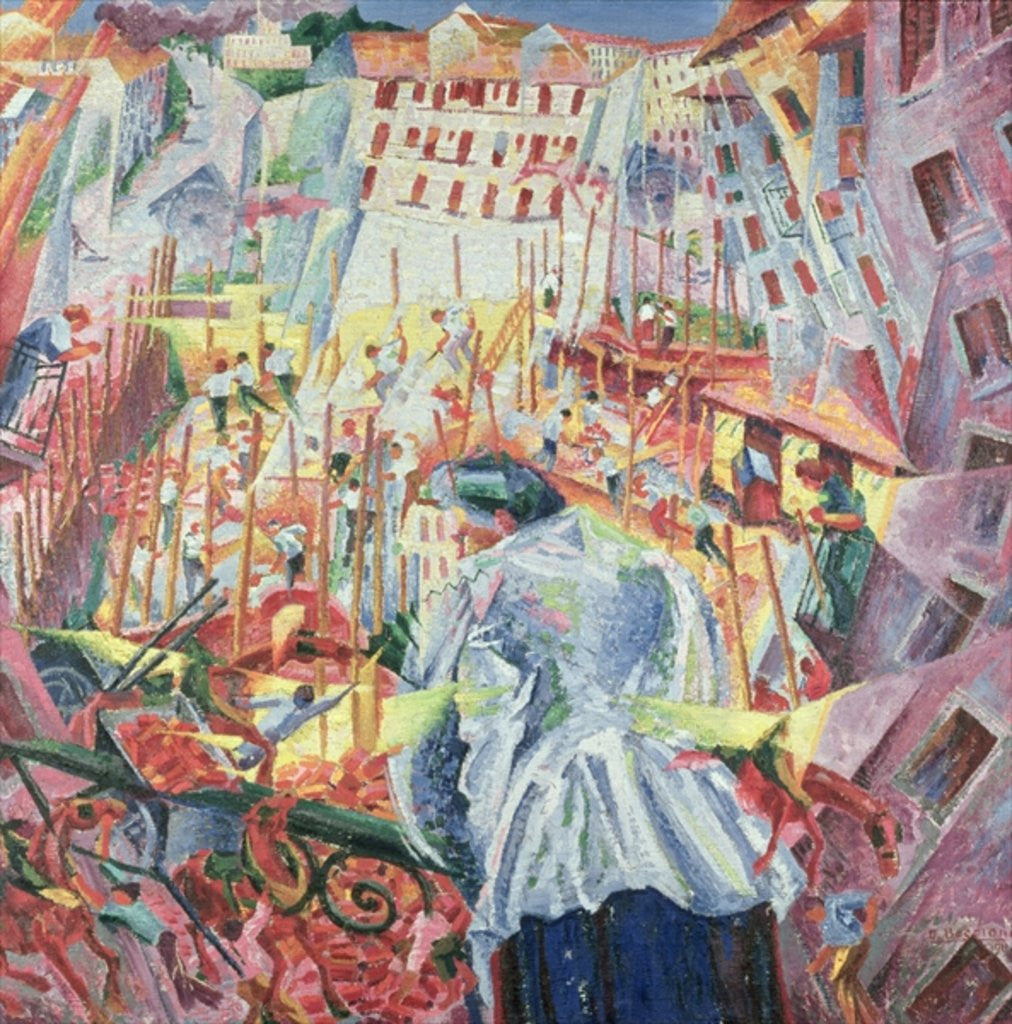 Detail of The Street Enters the House by Umberto Boccioni