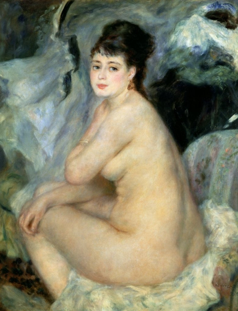 Detail of Nude, or Nude Seated on a Sofa by Pierre Auguste Renoir