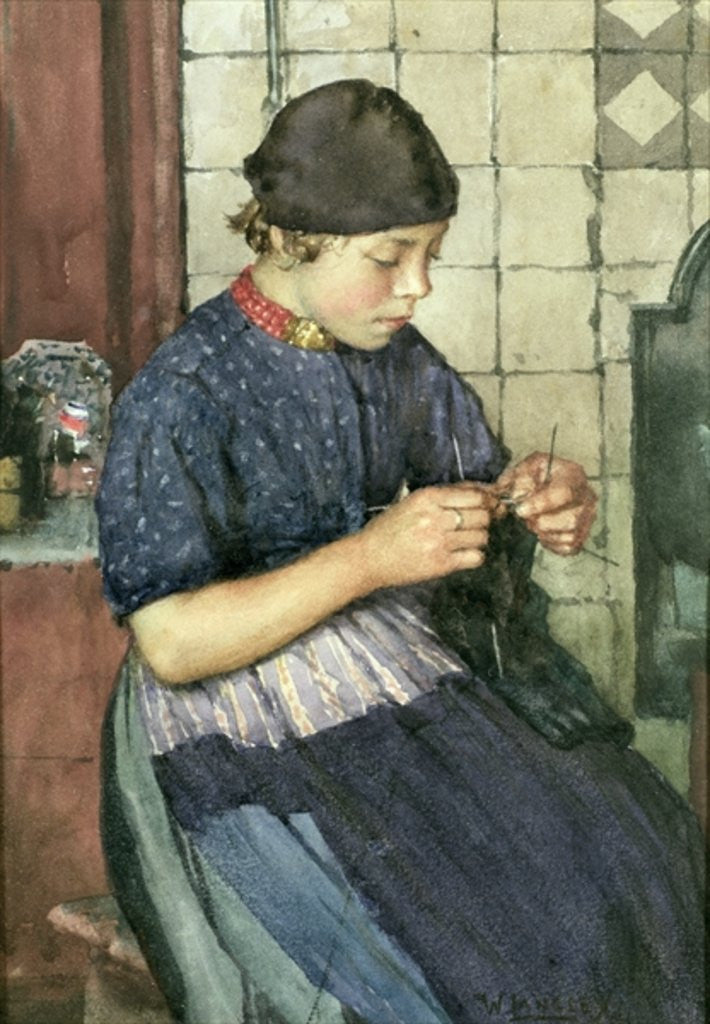 Detail of Girl Knitting by Walter Langley