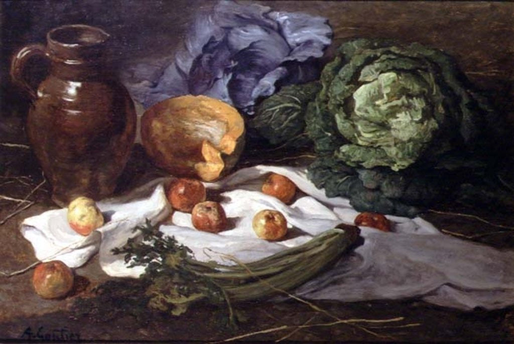 Detail of Still Life with Cabbages by Armand-Desire Gautier