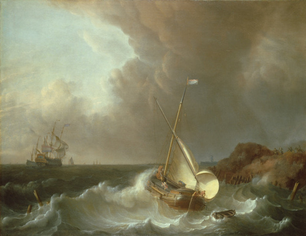 Detail of Galleon in Stormy Seas by Jan Claes Rietschoof