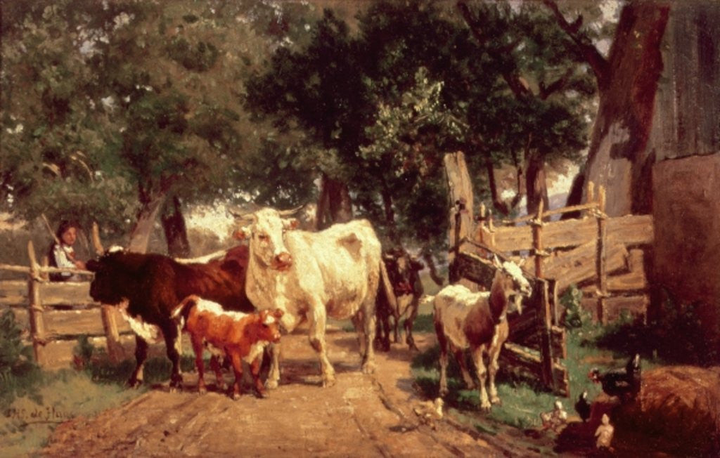 Detail of A Farmyard Scene by Eduard Weichberger
