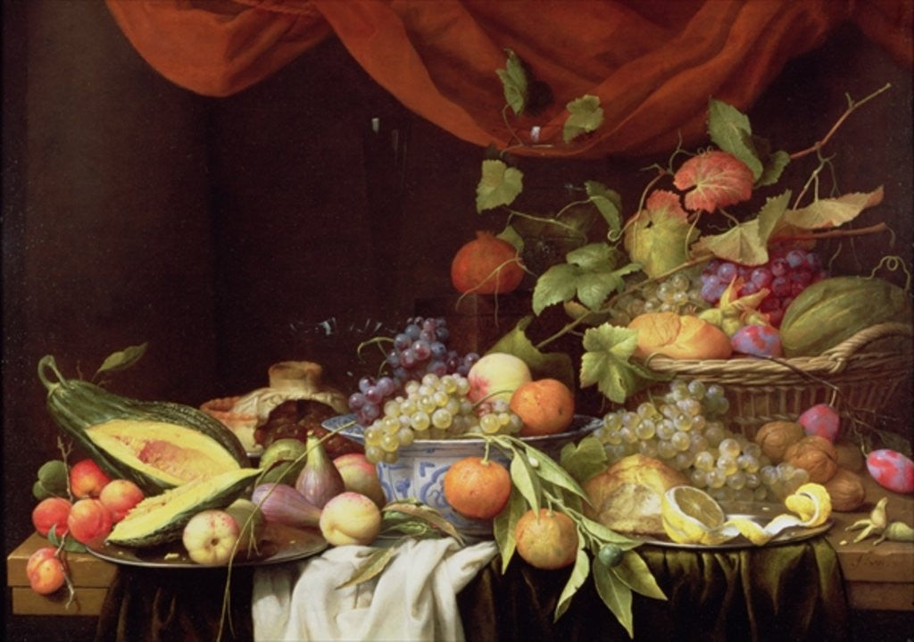 Detail of A Still Life of Fruit on a Draped Ledge by Joris van Son