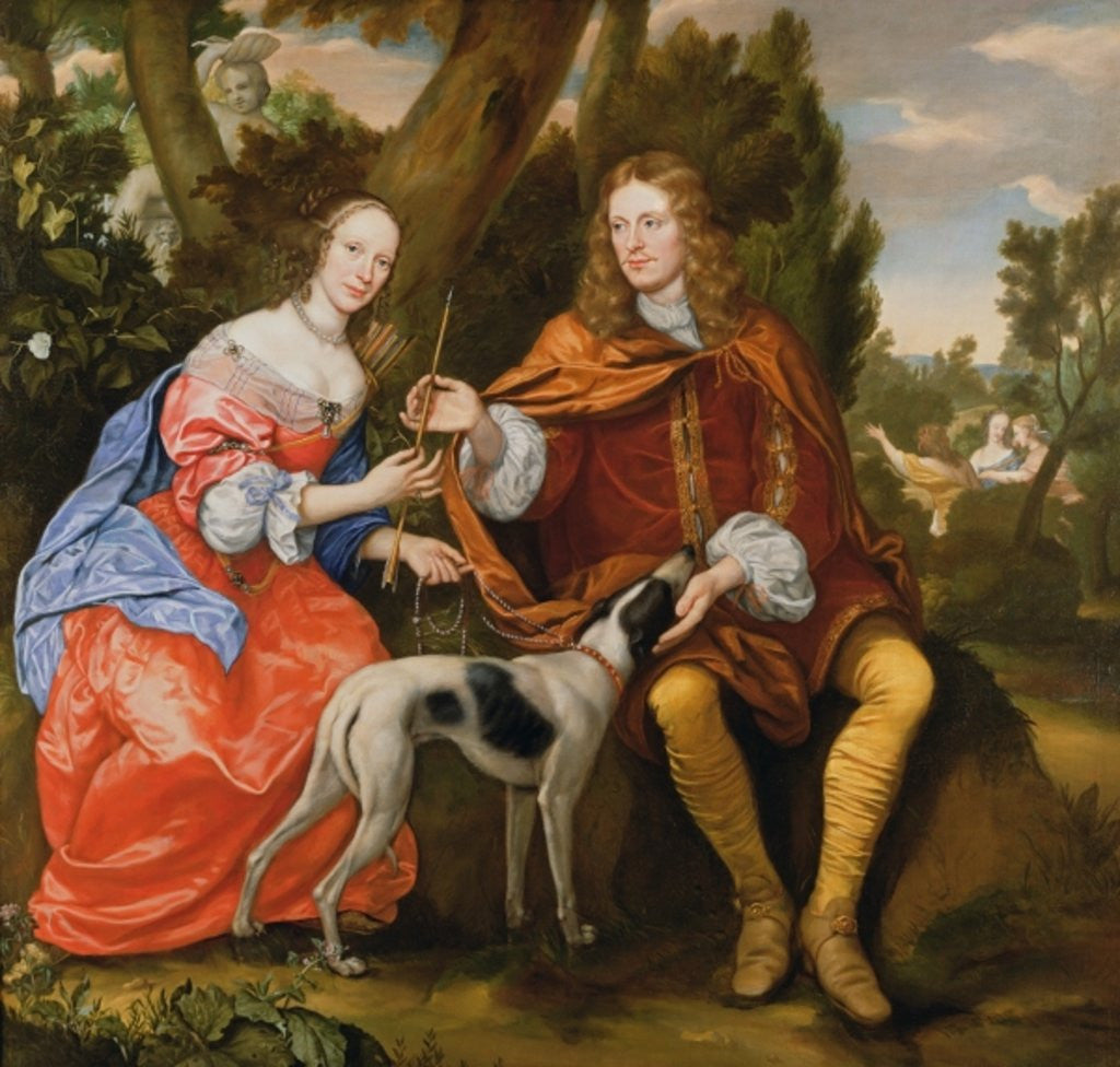 Detail of Portrait of a Gentleman and his Wife Holding an Arrow, Seated with their Dog by Jan Mytens