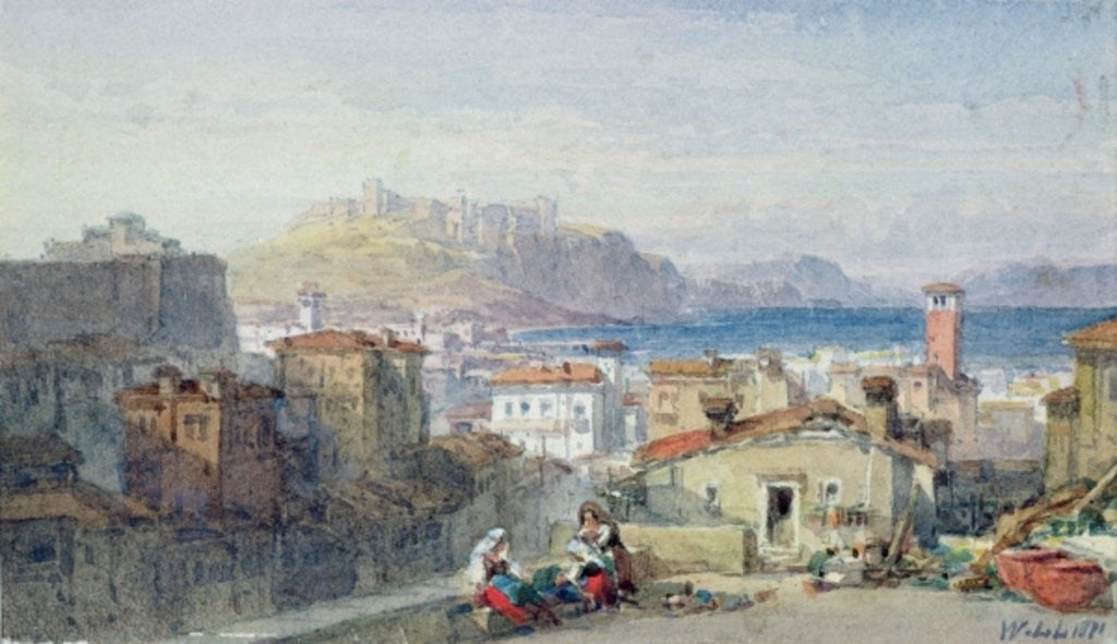 Detail of Naples, 19th century; watercolour; by William Leighton Leitch