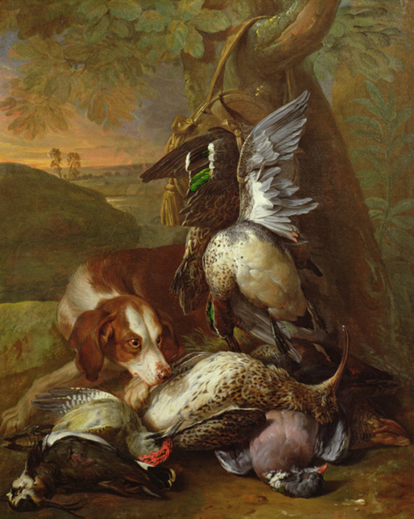 Detail of A Dog Guarding Game by Alexandre-Francois Desportes