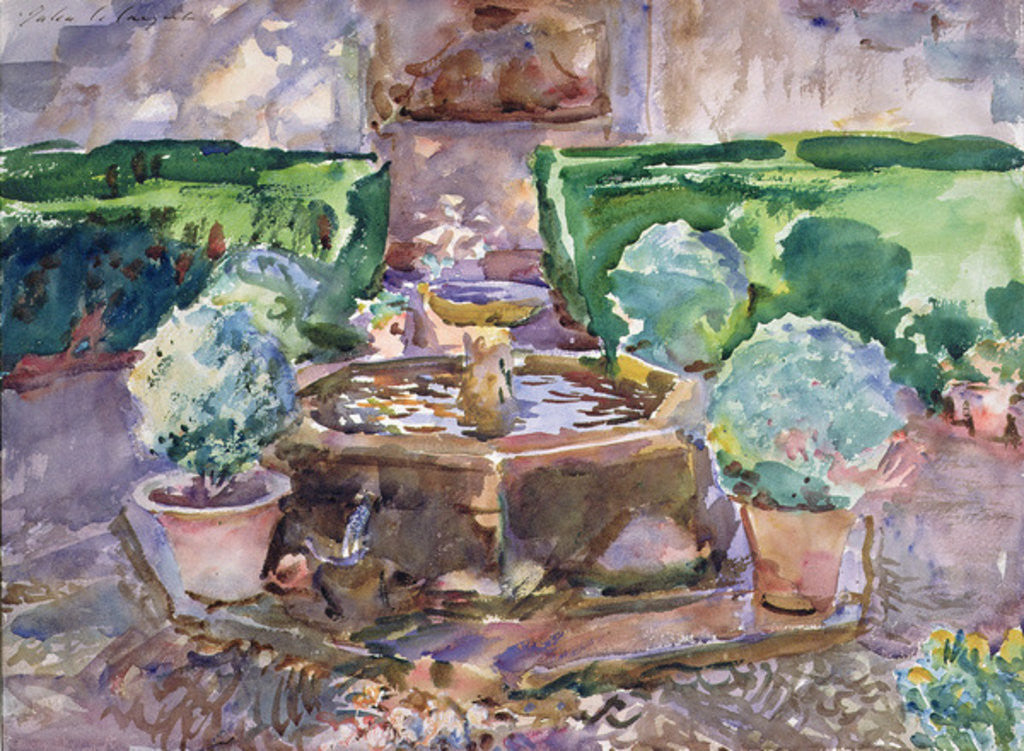 Detail of Fountains in the Generalife, Granada by John Singer Sargent