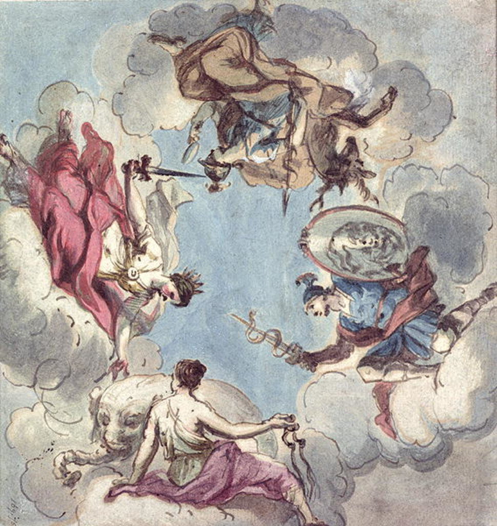 Detail of Design for a Ceiling: The Four Cardinal Virtues, Justice, Prudence, Temperance and Fortitude by Sir James Thornhill