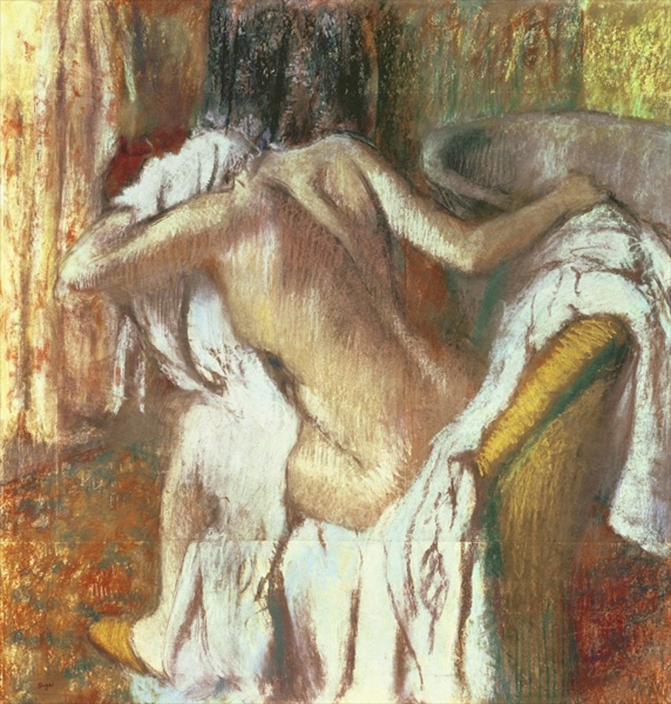 Detail of Woman drying herself by Edgar Degas