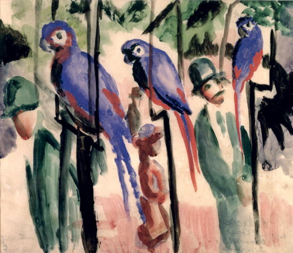 Detail of Blue Parrots by August Macke