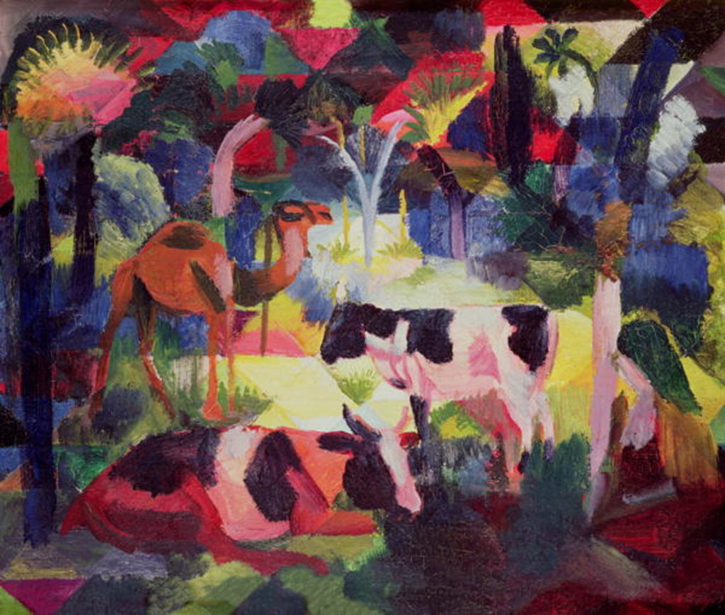 Detail of Landscape with Cows and a Camel by August Macke