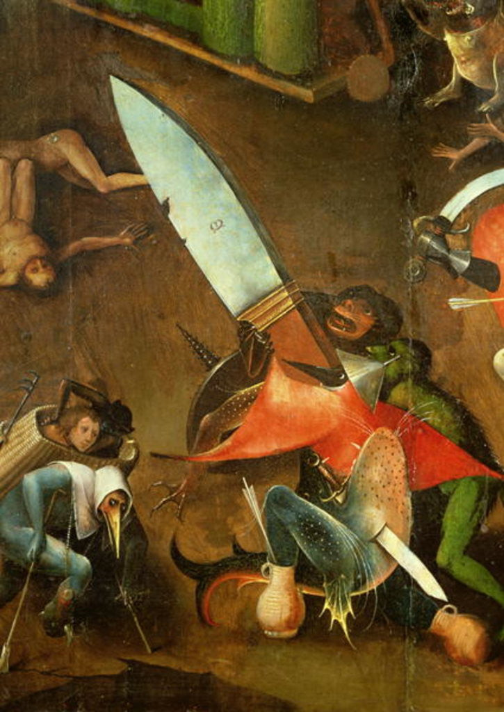 Detail of The Last Judgement (Altarpiece): Detail of the Dagger by Hieronymus Bosch