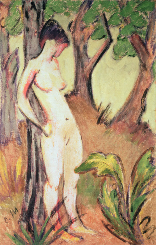 Detail of Nude Standing Against a Tree by Otto Muller or Mueller