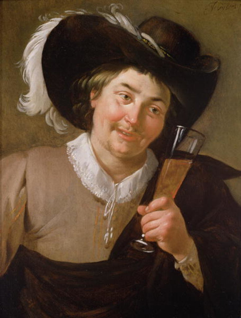 Portrait of a Man Holding a Wine Glass by Jan van Bijlert or Bylert
