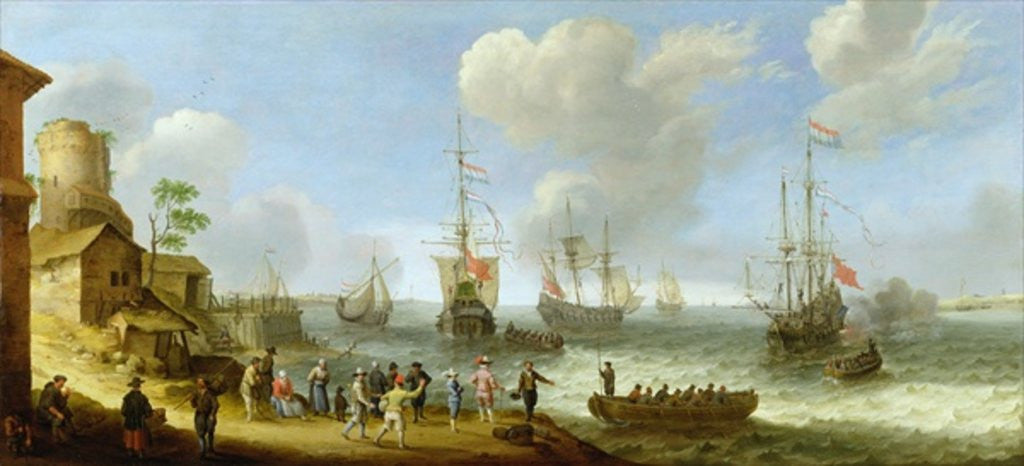 Detail of Dutch Warships in an Estuary by Adam Willaerts