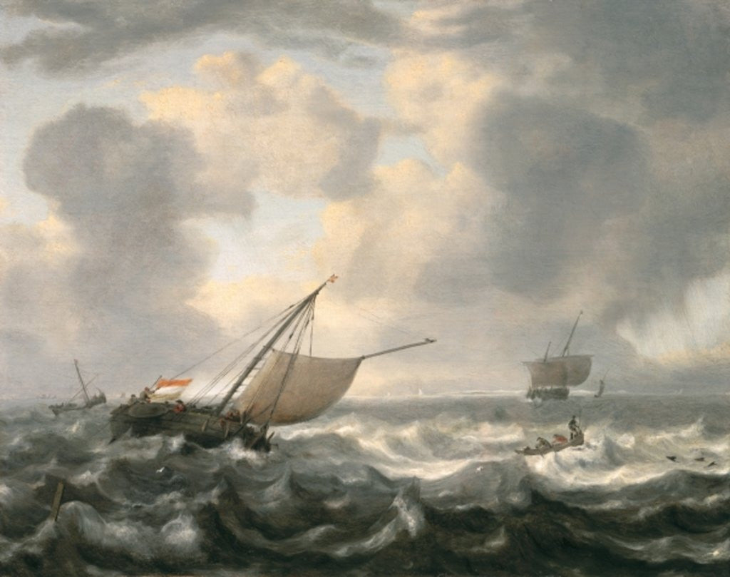 Detail of Ships on a Choppy Sea by Hendrik van Anthonissen