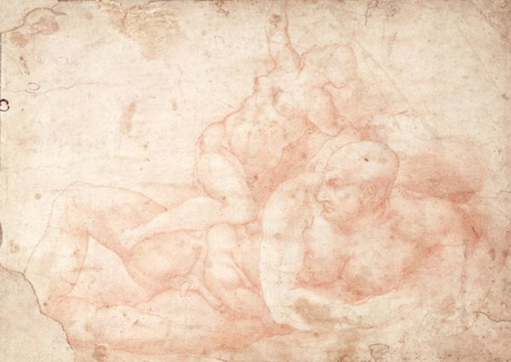Detail of Study of a Male and Female Nude by Michelangelo Buonarroti