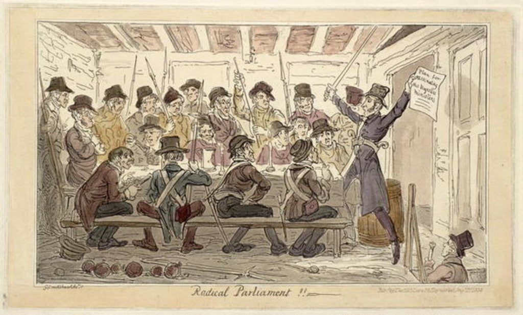 Detail of 'Radical Parliament !!' or 'A Plan for Assassinating his Majesty's Ministers' by George Cruikshank