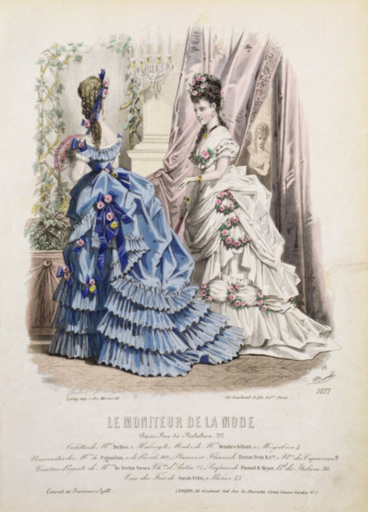 Detail of Fashion plate from 'Le Moniteur de la Mode' by French School