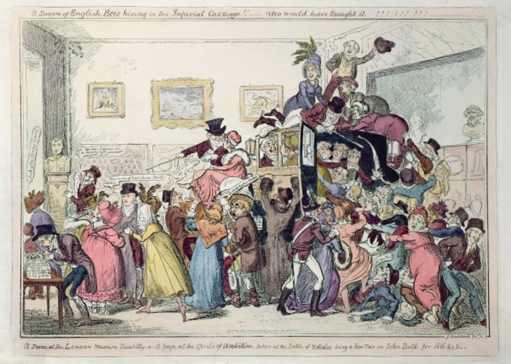 Detail of A swarm of English bees hiving in the Imperial Carriage!! - Who would have thought it?? by George Cruikshank