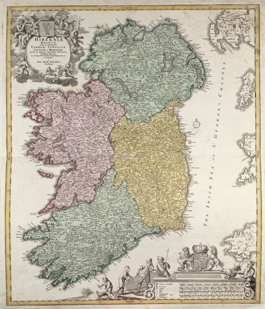 Detail of Map of Ireland showing the Provinces of Ulster, Munster, Connaught and Leinster by Johann Baptista Homann