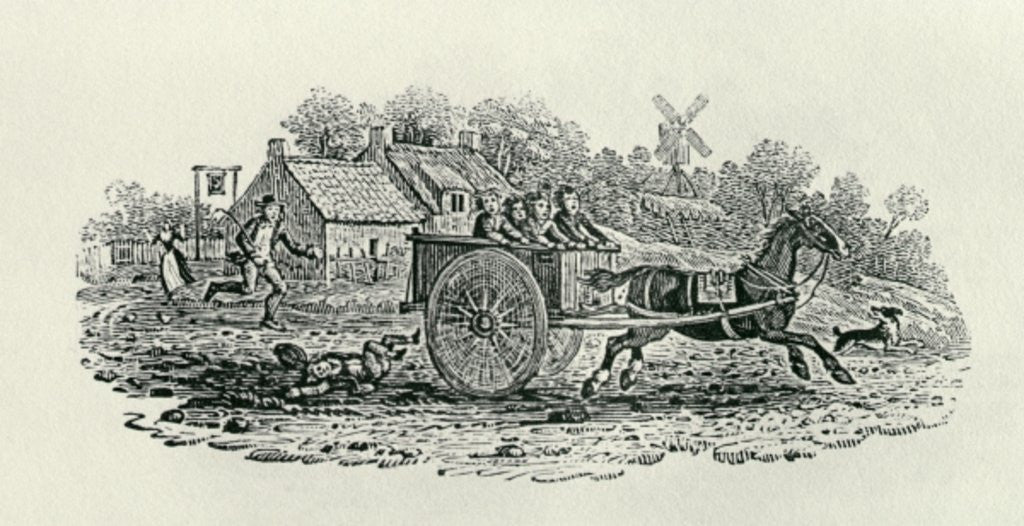 Detail of Runaway Cart from 'Land Birds by Thomas Bewick