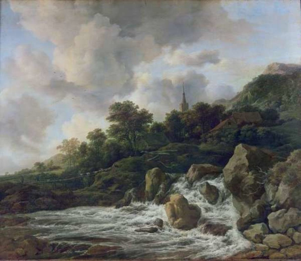 Detail of Waterfall Near a Village by Jacob Isaaksz. or Isaacksz. van Ruisdael