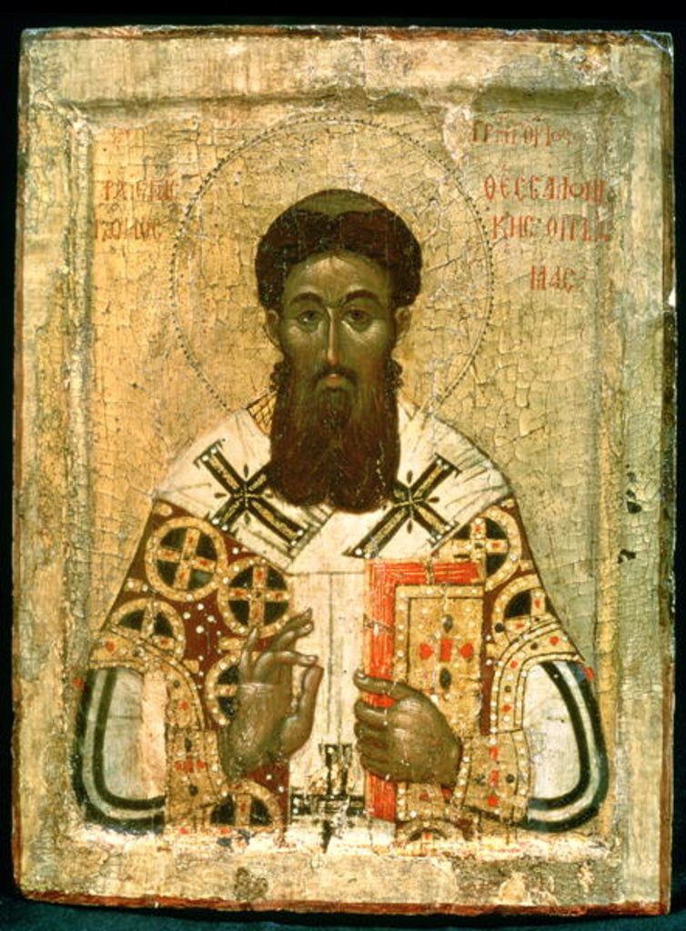 Detail of Icon of St. Gregory Archbishop of Thessaloniki by Russian School