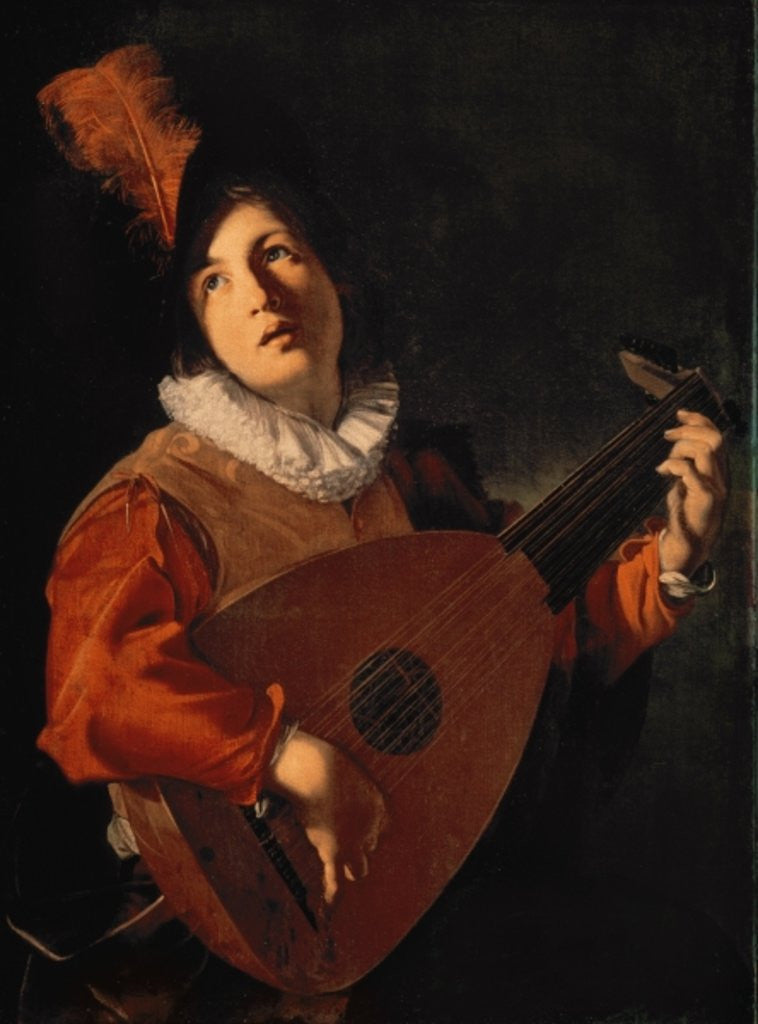 Detail of Young Man with a Lute by Bartolomeo Manfredi