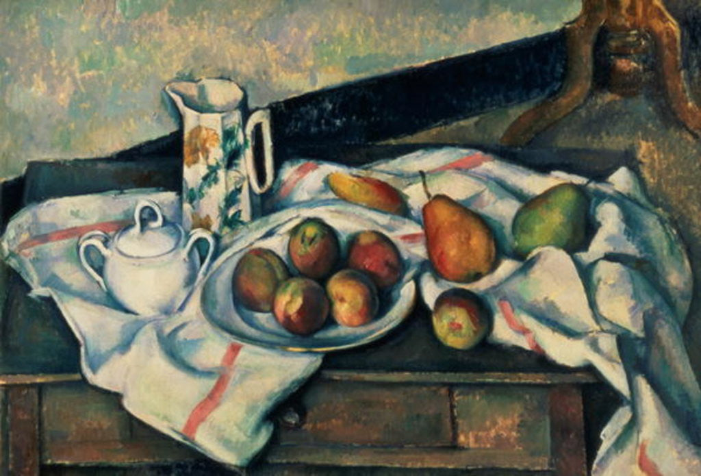 Detail of Still Life of Peaches and Pears by Paul Cezanne
