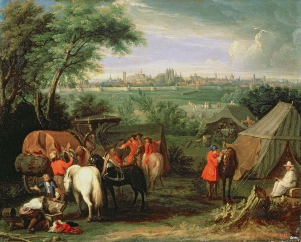 Detail of The Siege of Tournai by Louis XIV by Adam Frans Van der Meulen