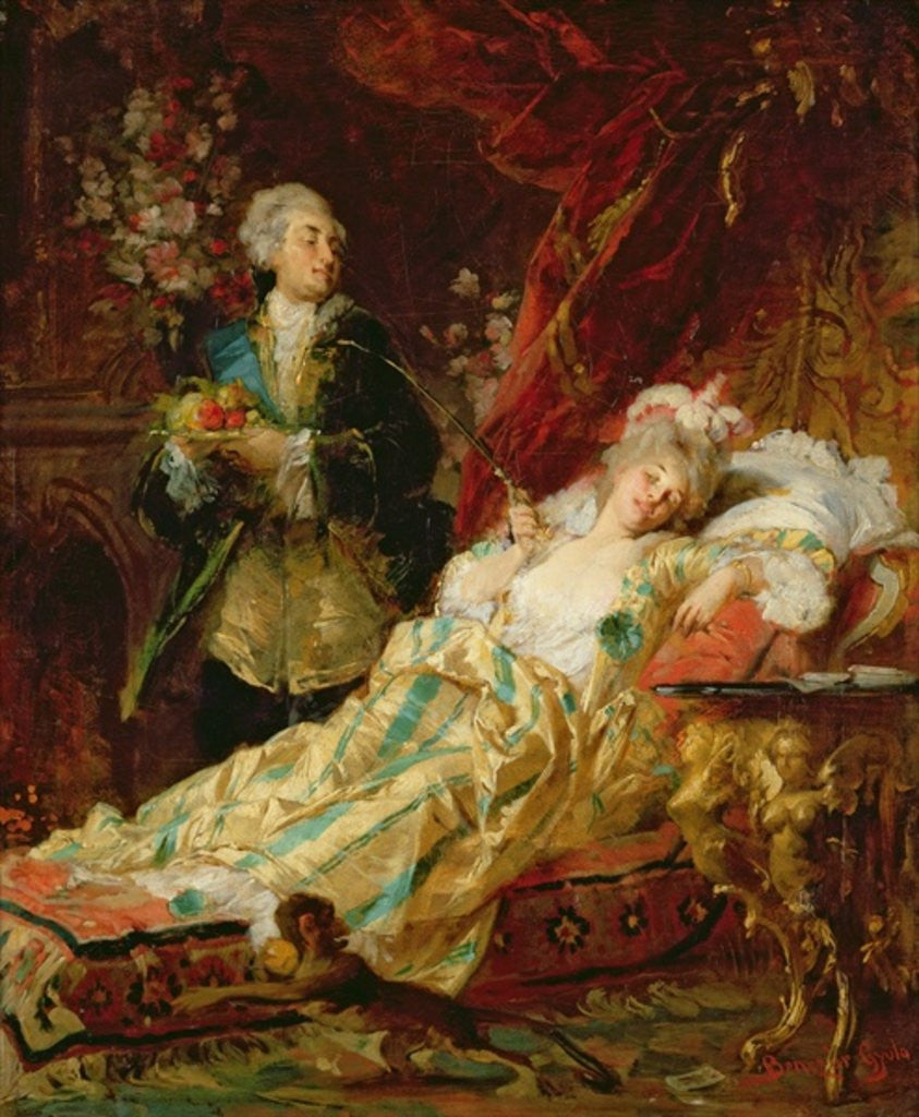 Detail of Louis XV and Madame Dubarry by Gyula Benczur
