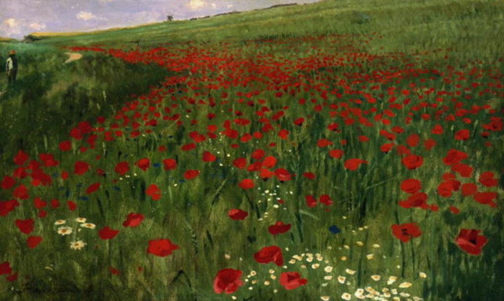 Detail of The Poppy Field by Pal Szinyei Merse