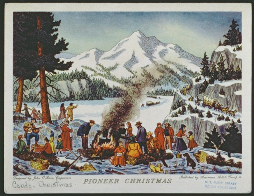 Detail of Christmas card depicting a Pioneer Christmas by American School
