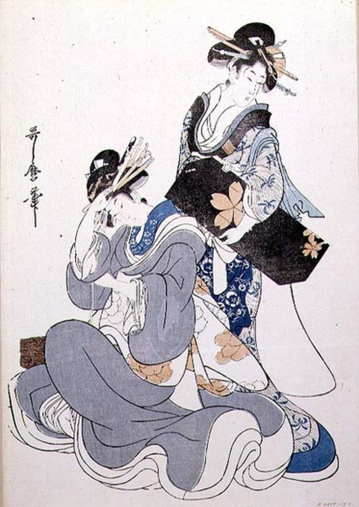 Detail of Two Female Figures by Kitagawa Utamaro