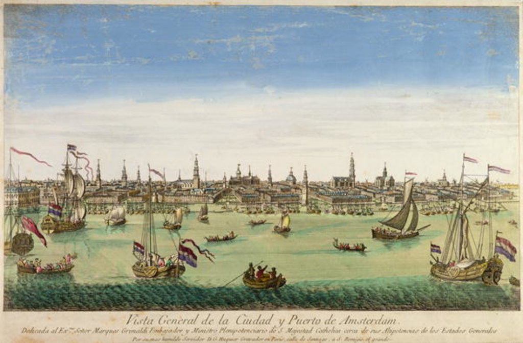 Detail of A General View of the Port and Town of Amsterdam by Dutch School