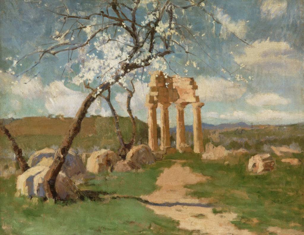 Detail of Almond Trees and Ruins, Sicily by John Peter Russell